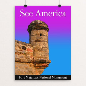 "Fort Matanzas National Monument by Bee Joy 12"" by 16"" Print / Unframed Print See America"