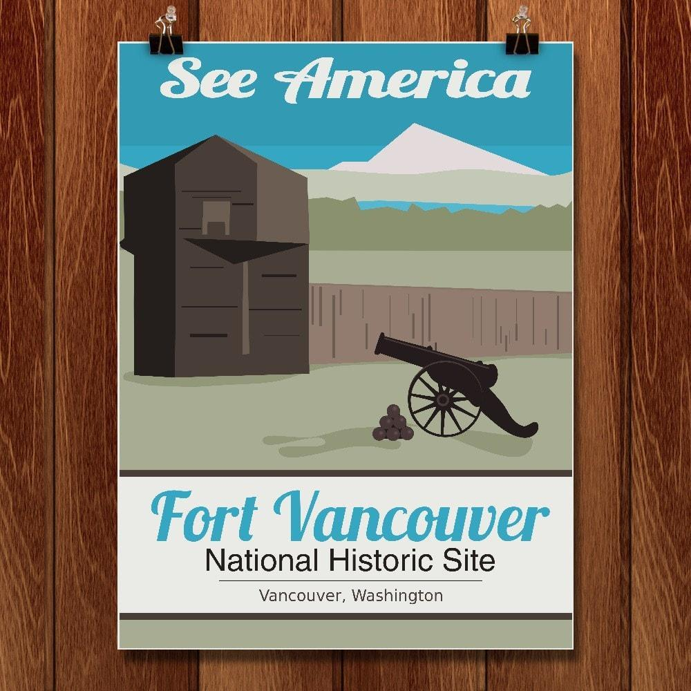 "Fort Vancouver National Historic Site by Meredith Watson 12"" by 16"" Print / Unframed Print See America"