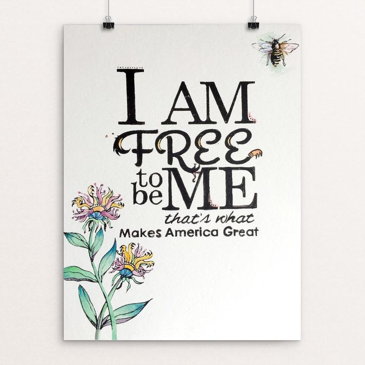 "Free to Be Me by Shelley Wright 12"" by 16"" Print / Unframed Print What Makes America Great"