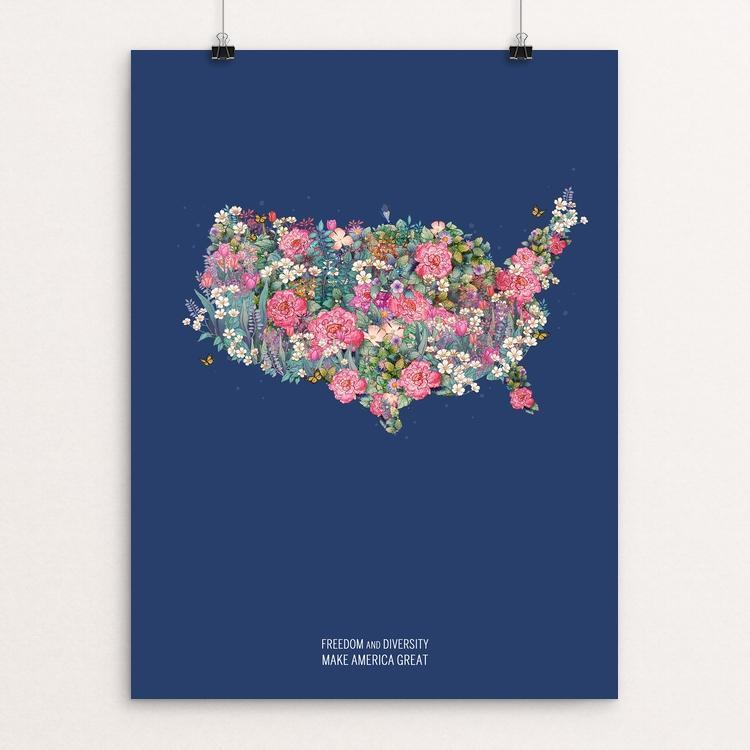 "Freedom and Diversity Make America Great by Julia Yellow 12"" by 16"" Print / Unframed Print What Makes America Great"