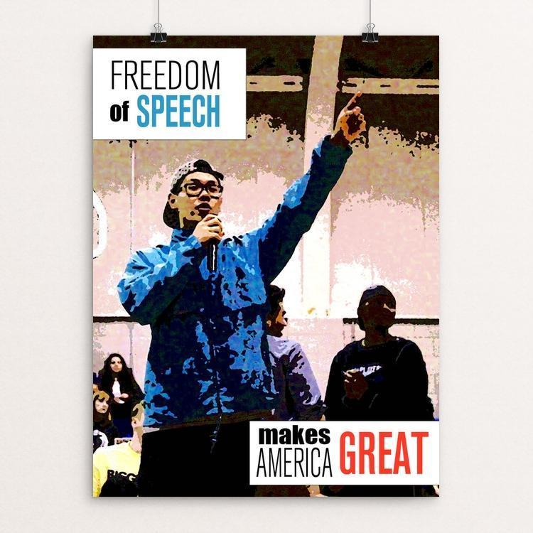 "Freedom of Speech Makes America Great by Christie Martinez 12"" by 16"" Print / Unframed Print What Makes America Great"