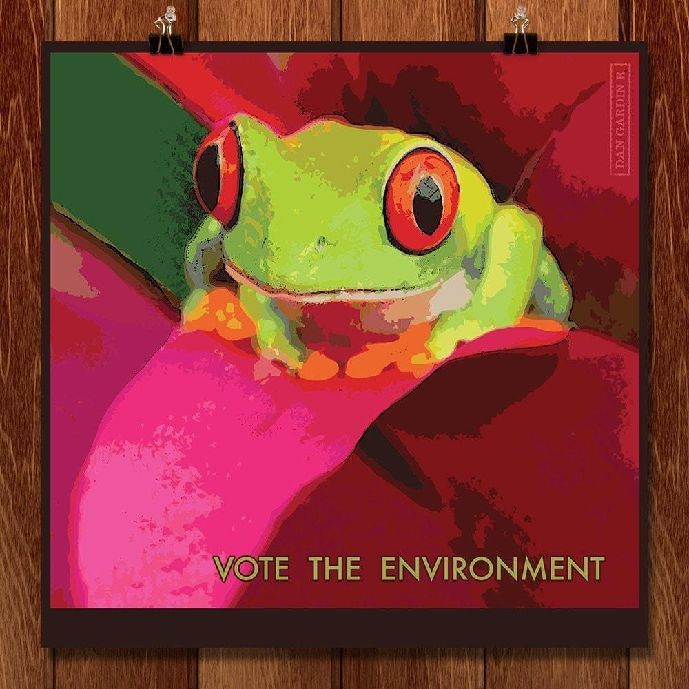 "Froggy by Dan Gardiner 12"" by 12"" Print / Unframed Print Vote the Environment"