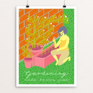 "Gardening by Anna Hartwig 12"" by 16"" Print / Unframed Print What Makes America Great"