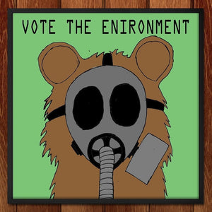 "Gas Mask Teddy by Juan Fuentes 12"" by 12"" Print / Framed Print Vote the Environment"