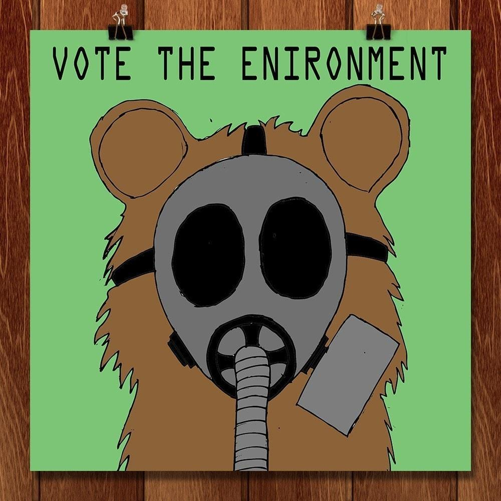 "Gas Mask Teddy by Juan Fuentes 12"" by 12"" Print / Unframed Print Vote the Environment"