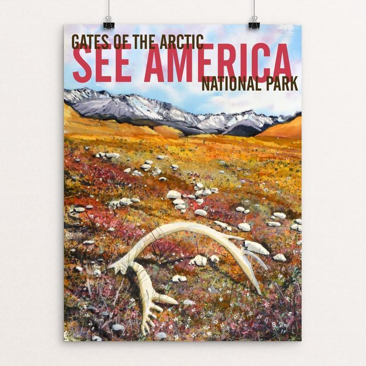 "Gates of the Arctic National Park - Caribou Antler by Bruce and Scott Sink 12"" by 16"" Print / Unframed Print See America"