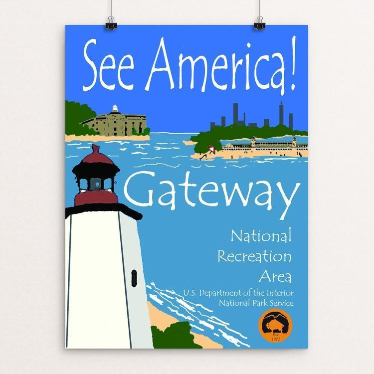 "Gateway National Recreation Area by John Lincoln Hallowell 12"" by 16"" Print / Unframed Print See America"