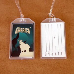 Glacier National Park Luggage Tags by Matt Brass Lustre Paper Luggage Tag See America