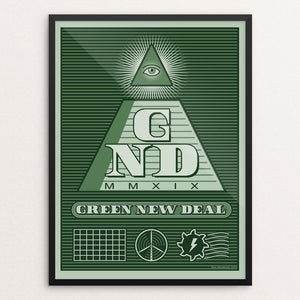 "GND by Don Henderson 12"" by 16"" Print / Framed Print Green New Deal"