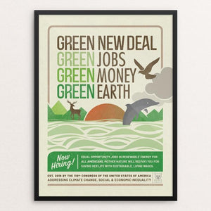 "GND: Jobs + Money + Earth by Liza Donovan 12"" by 16"" Print / Framed Print Green New Deal"