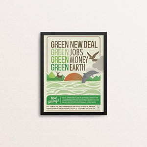"GND: Jobs + Money + Earth by Liza Donovan 8"" by 10"" Print / Framed Print Green New Deal"