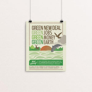 "GND: Jobs + Money + Earth by Liza Donovan 8"" by 10"" Print / Unframed Print Green New Deal"