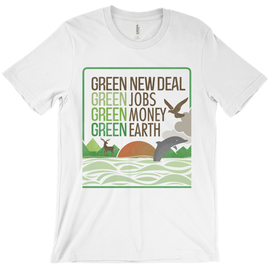 GND: Jobs + Money + Earth Men's T-Shirt by Liza Donovan Ash / Extra Small (XS) T-Shirt Green New Deal