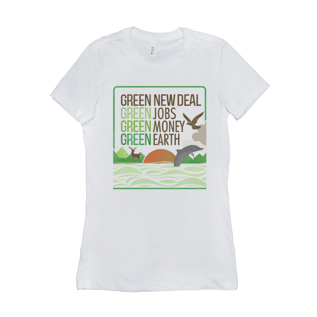 GND: Jobs + Money + Earth Women's T-Shirt by Liza Donovan Ash / Small (S) T-Shirt Green New Deal