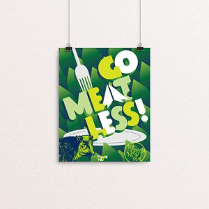 "Go Meatless! by Trevor Messersmith 8"" by 10"" Print / Unframed Print Green New Deal"