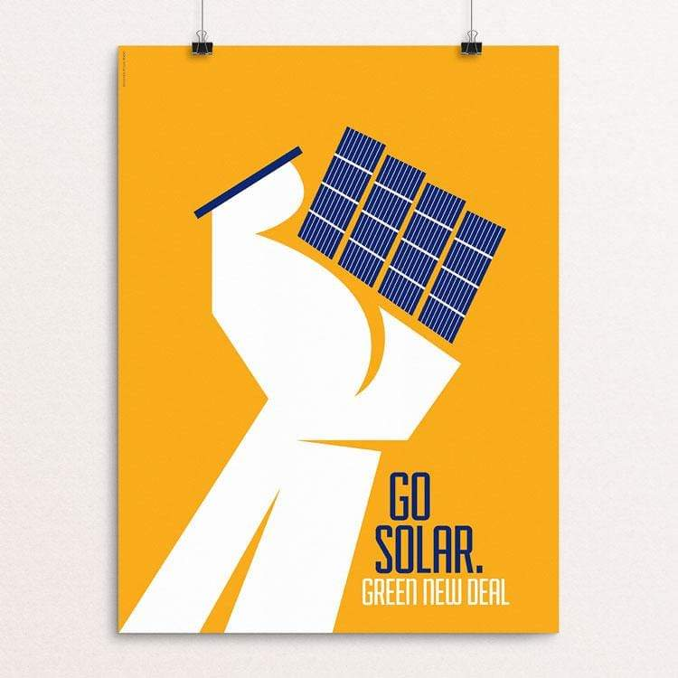 "Go Solar. by Luis Prado 18"" by 24"" Print / Unframed Print Green New Deal"
