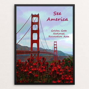 "Golden Gate Flowers by Anthony Chiffolo 12"" by 16"" Print / Framed Print See America"
