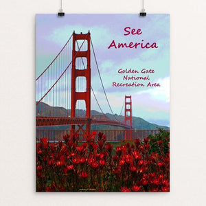 "Golden Gate Flowers by Anthony Chiffolo 12"" by 16"" Print / Unframed Print See America"