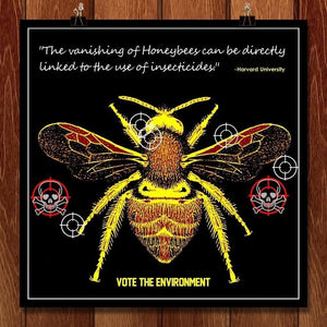 "Gone Bees by Bob Rubin 12"" by 12"" Print / Unframed Print Vote the Environment"