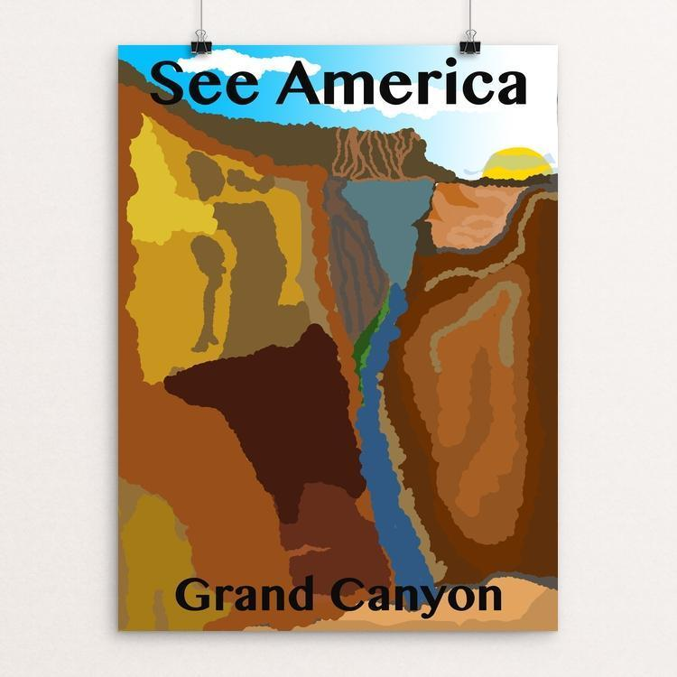 "Grand Canyon by Evan Lindner 12"" by 16"" Print / Unframed Print See America"