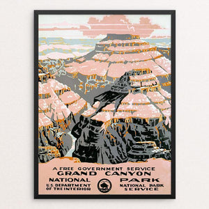 "Grand Canyon National Park, A Free Government Service 12"" by 16"" Print / Framed Print WPA Federal Art Project"