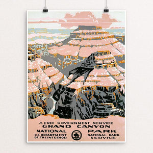 "Grand Canyon National Park, A Free Government Service 12"" by 16"" Print / Unframed Print WPA Federal Art Project"