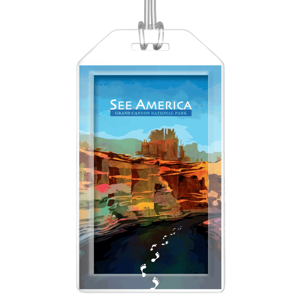 Grand Canyon National Park Luggage Tags by Mayanglambam Dinesh Singh Lustre Paper Luggage Tag See America