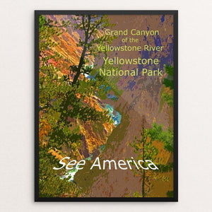 "Grand Canyon of the Yellowstone River, Yellowstone National Park by Rodney Buxton 12"" by 16"" Print / Framed Print See America"