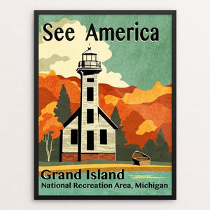 "Grand Island by Mike Stockwell 12"" by 16"" Print / Framed Print See America"