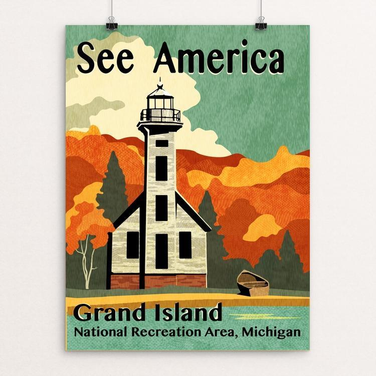 "Grand Island by Mike Stockwell 12"" by 16"" Print / Unframed Print See America"
