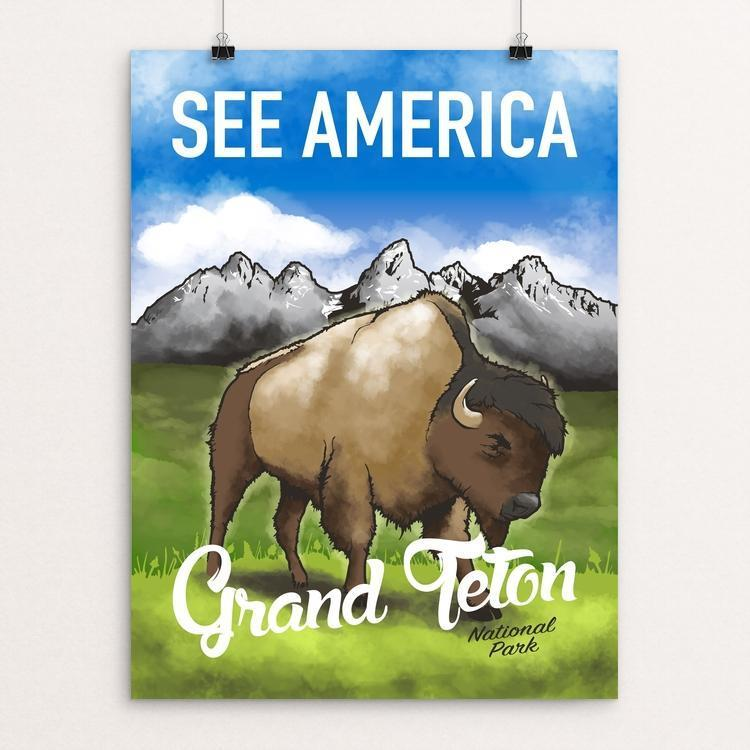 "Grand Teton by Tom Blosch 12"" by 16"" Print / Unframed Print See America"