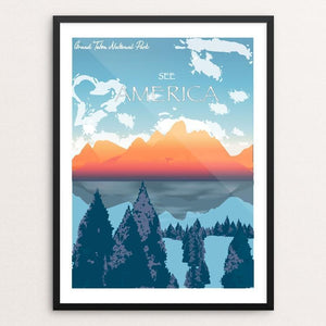 "Grand Teton National Park by Jenny Jin 18"" by 24"" Print / Framed Print See America"