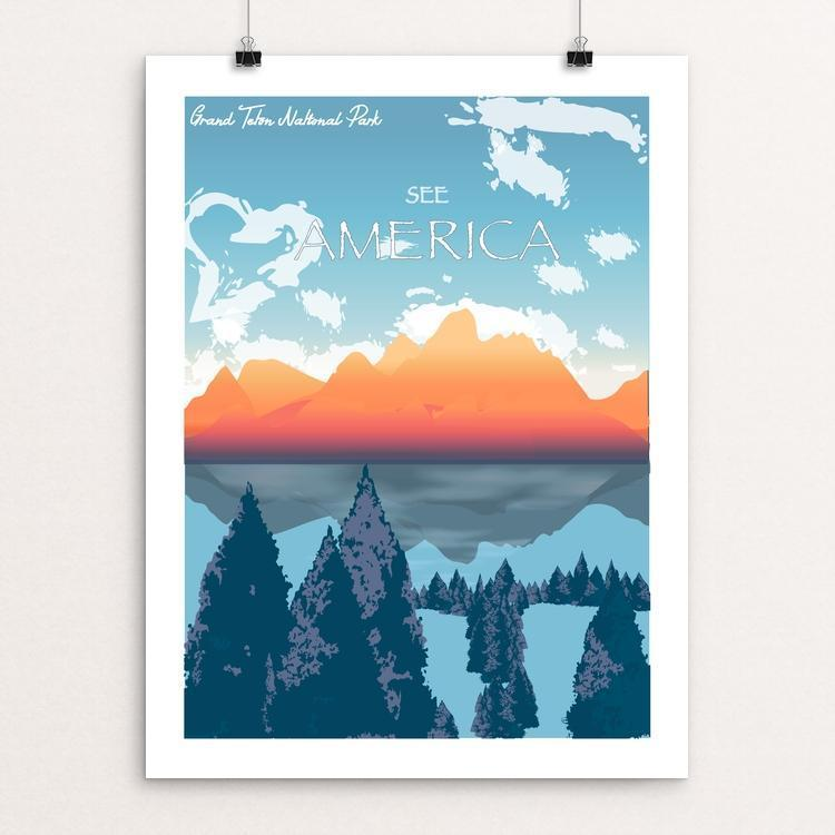 "Grand Teton National Park by Jenny Jin 18"" by 24"" Print / Unframed Print See America"