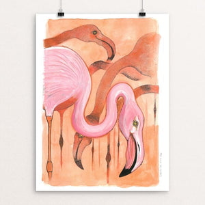 "Grazing Flamingoes by Rob Wilkinson 12"" by 16"" Print / Unframed Print Creative Action Network"