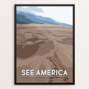 "Great Sand Dunes National Park and Preserve by Mary Stasilli 12"" by 16"" Print / Framed Print See America"