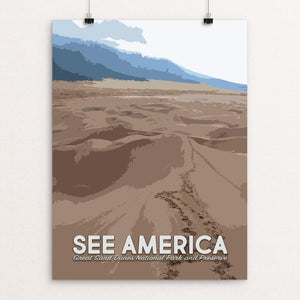 "Great Sand Dunes National Park and Preserve by Mary Stasilli 12"" by 16"" Print / Unframed Print See America"