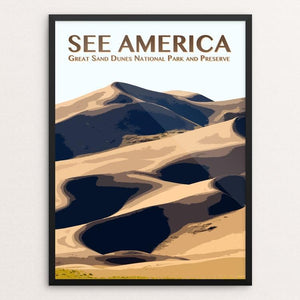 "Great Sand Dunes National Park and Preserve by Zack Frank 12"" by 16"" Print / Framed Print See America"