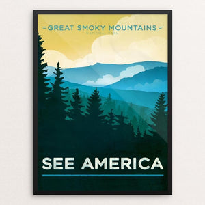 "Great Smoky Mountains National Park by Jon Cain 12"" by 16"" Print / Framed Print See America"