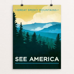 "Great Smoky Mountains National Park by Jon Cain 12"" by 16"" Print / Unframed Print See America"
