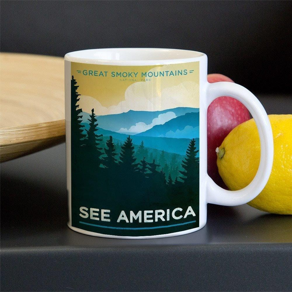 Great Smoky Mountains National Park Mug by Jon Cain 11oz Mug See America