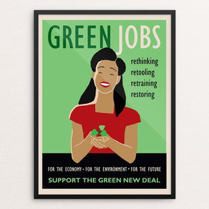 "Green Jobs by Lisa Vollrath 18"" by 24"" Print / Framed Print Green New Deal"