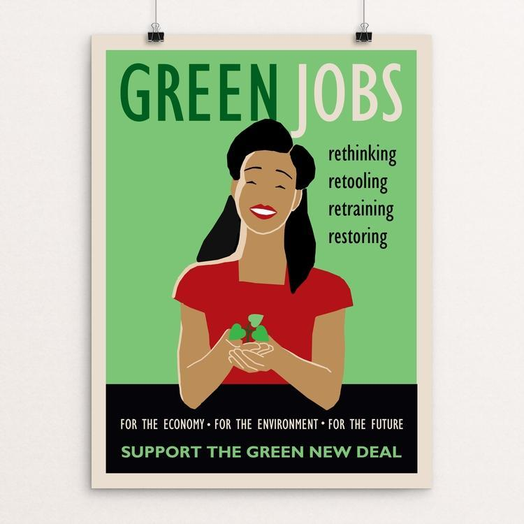 "Green Jobs by Lisa Vollrath 18"" by 24"" Print / Unframed Print Green New Deal"