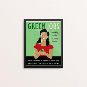 "Green Jobs by Lisa Vollrath 8"" by 10"" Print / Framed Print Green New Deal"