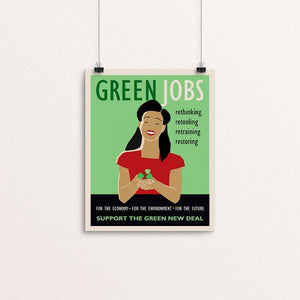 "Green Jobs by Lisa Vollrath 8"" by 10"" Print / Unframed Print Green New Deal"