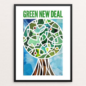 "Green Lantern, Green New Deal by Isaac Brynjegard-Bialik 12"" by 16"" Print / Framed Print Green New Deal"
