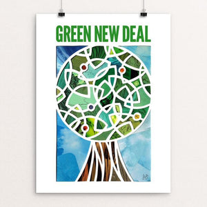 "Green Lantern, Green New Deal by Isaac Brynjegard-Bialik 12"" by 16"" Print / Unframed Print Green New Deal"