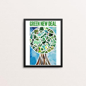 "Green Lantern, Green New Deal by Isaac Brynjegard-Bialik 8"" by 10"" Print / Framed Print Green New Deal"