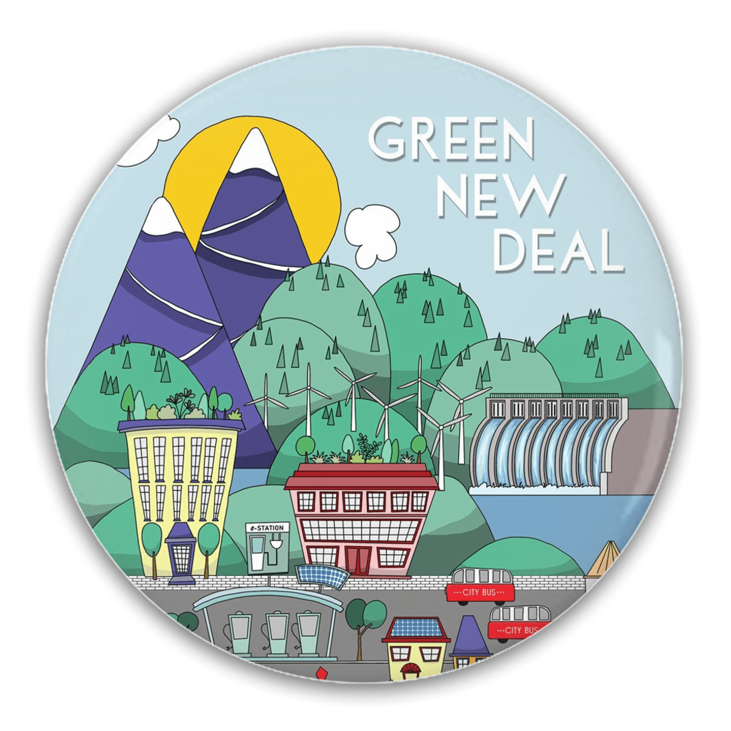 Green New Deal Button by J Clement Wall