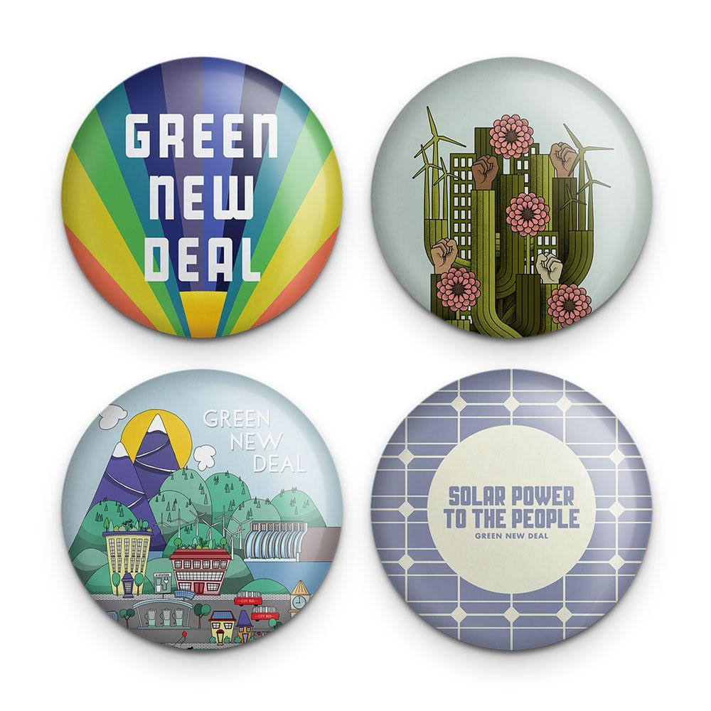 Green New Deal Button Pack 2