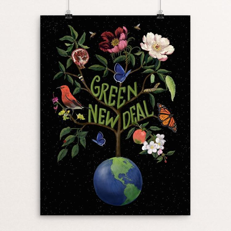 "Green New Deal by Brooke Fischer 12"" by 16"" Print / Unframed Print Green New Deal"